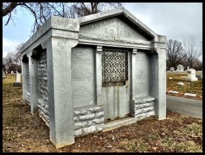 This mausoleum was interesting,.. it's constructed of stone, yet is painted with what appears to be barn roof paint... weird.