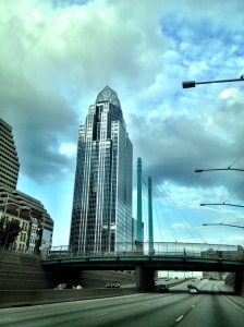 I 71 slicing through downtown Cincinnati, with the Tiara in the background.