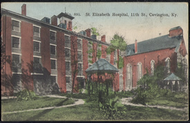 A postcard image of the hospital.