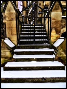 Snowy steps to the Dexter.