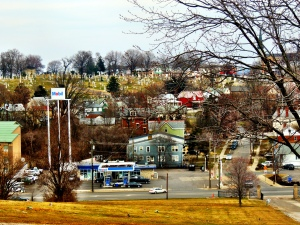 A urban view from the top of the hill.