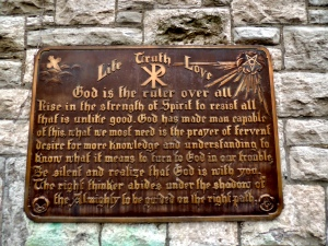 Plaque on the side of the chapel.